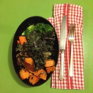 AIP rosemary and lemon roast lamb chops with roast sweet potato and kale chips